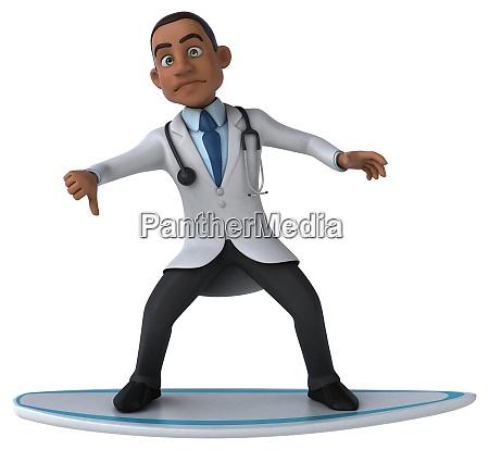fun 3d cartoon doctor surfing