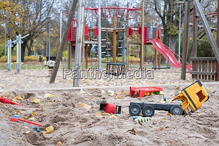 deserted playground in a city park