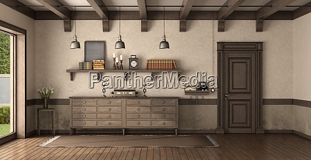retro home entrance with wooden front