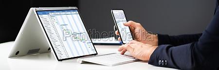laptop digital electronic gantt chart