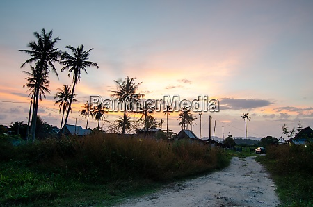 sunset of little malays village surrounded