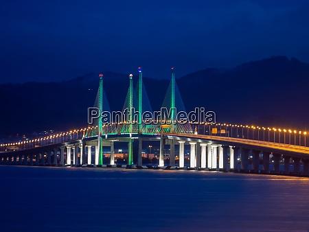 penang second bridge in dawn