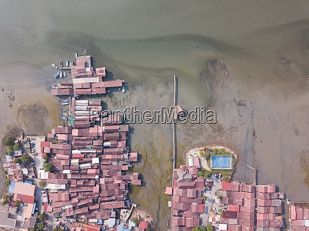aerial view clan jetty at unesco