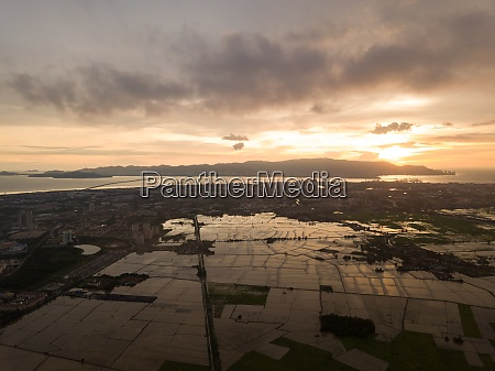 aerial view paddy field during flooded