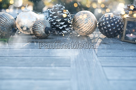 christmas decoration with golden bokeh