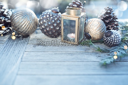 christmas decoration with silver bokeh