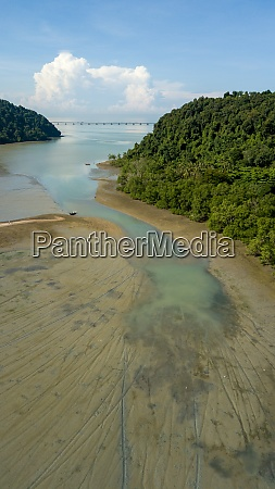 aerial view low tide near coastal