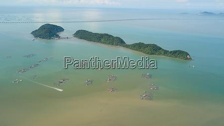 aerial view boat move near fish