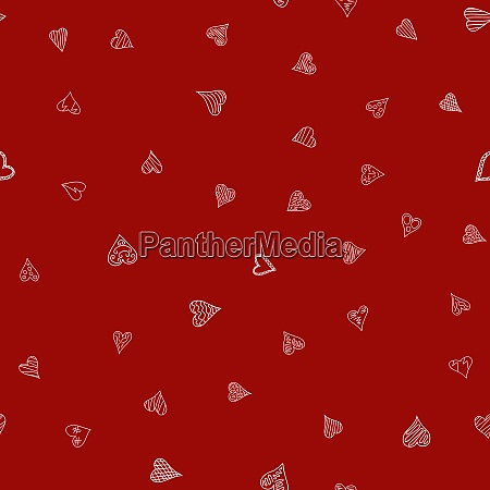 chaotic red doodle hearts seamless