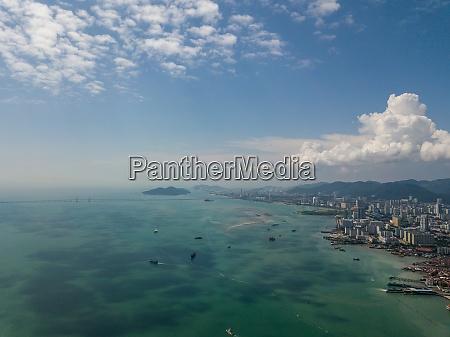 aerial view cloudy day at penang