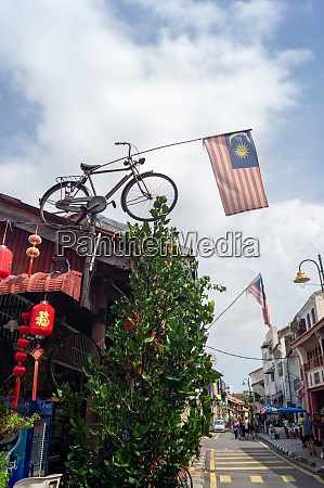 malaysia flag decorated at bicycle