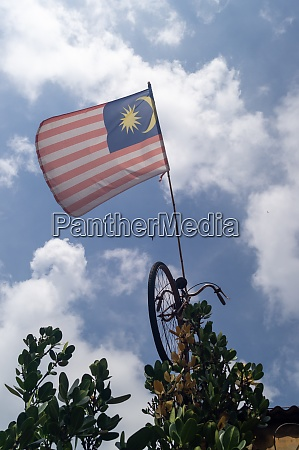 malaysia flag hang on bicycle under
