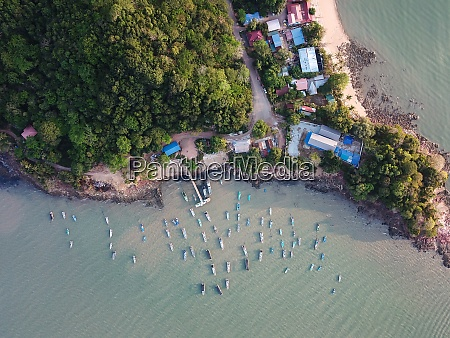 aerial top down view fishing jetty