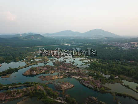 aerial view rock mountain and green