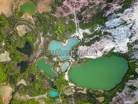 aerial view lake in love shape