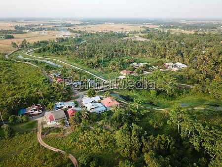 malays village surrounded with green trees