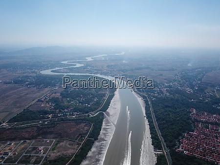 aerial view curve sungai muda