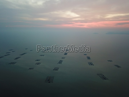 drone view fishing farm at sea