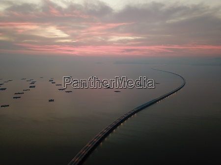 drone view penang second bridge