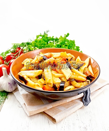 pasta penne with eggplant and tomatoes