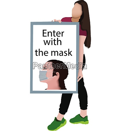 girl with placard warns to enter