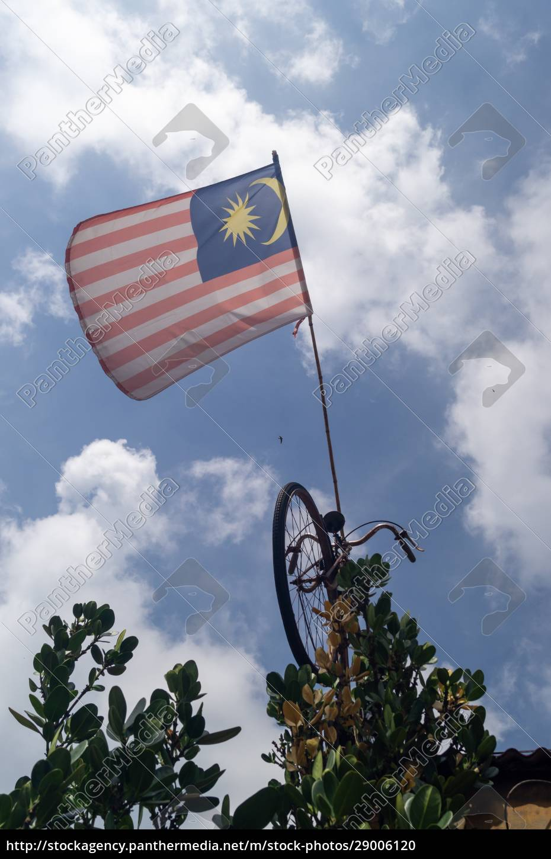 malaysia, flag, hang, on, bicycle, under - 29006120
