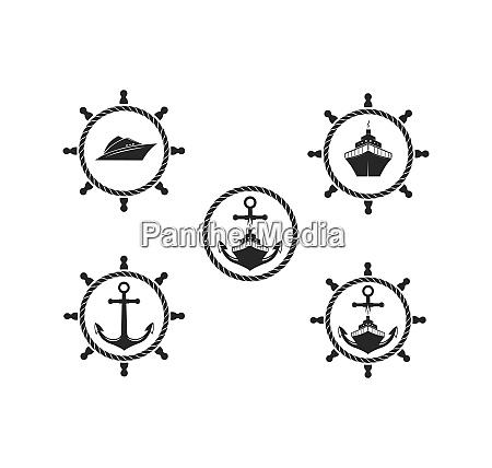 nautical vector logo icon of maritime