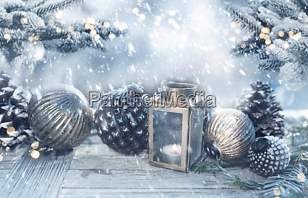 christmas decoration in a snowy garden