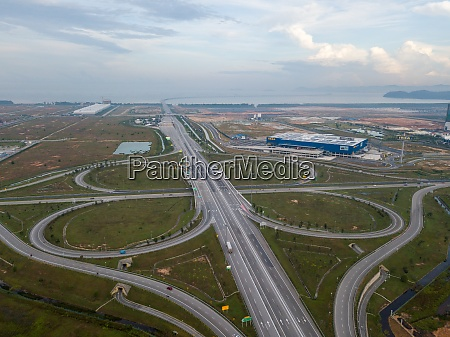 freeway cloverleaf interchange at batu kawan