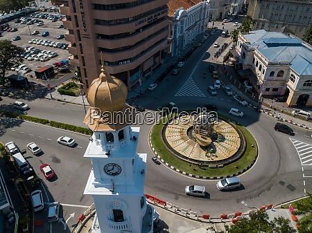 clock tower at padang kota lama