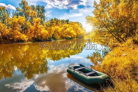 autumn and boat