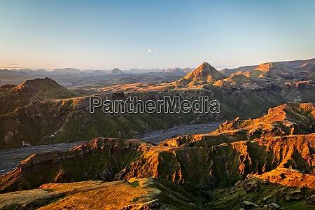 thorsmorks mountains at sunset iceland