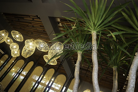 handmade wicker lampshade decorated in lobby