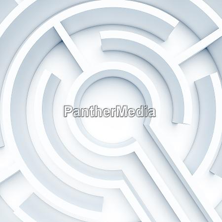 circular white maze 3d render nobody