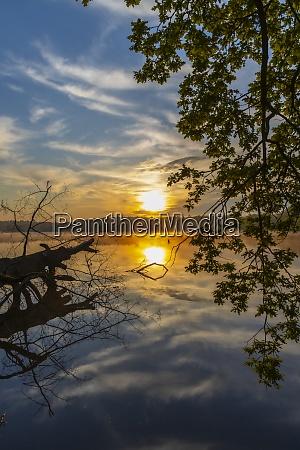 sunrise sun over pond trebon czech