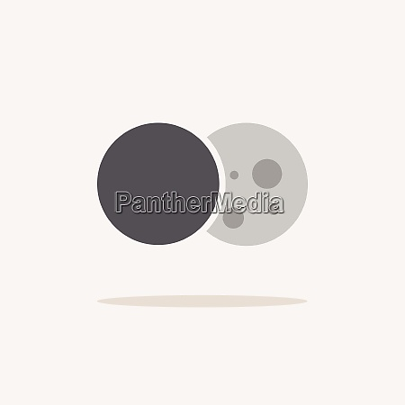 moon eclipse color icon with shadow
