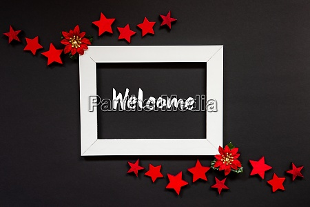 frame red winter rose star text