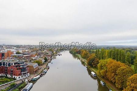aerial landscape view over a river