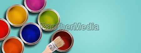 renovation concept colorful opened paint cans