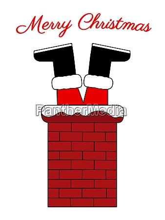 santa stuck in a chimney