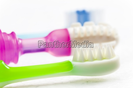 still life teethers and toothbrush