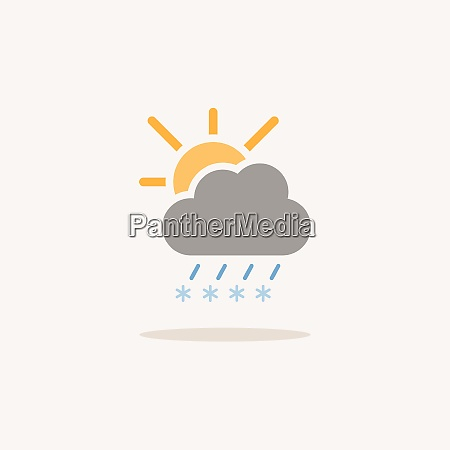 sleet cloud and sun color icon