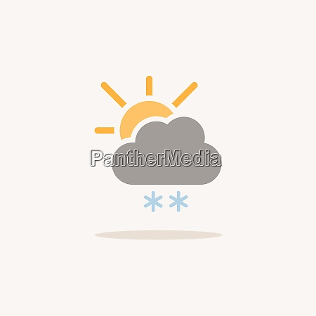 snow cloud and sun color icon
