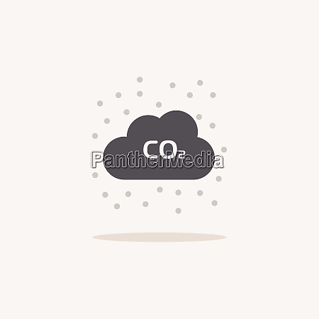 pollution color icon with shadow weather