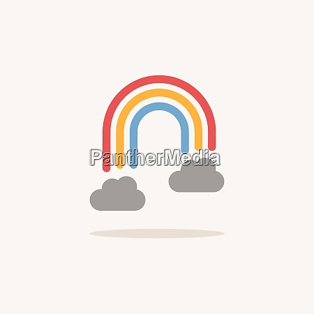 rainbow and clouds color icon with
