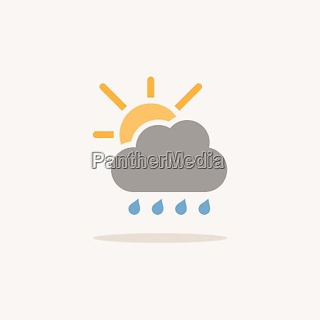 raindrops cloud and sun color icon