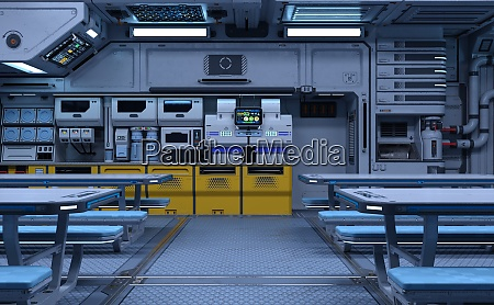 3d rendering science fiction dining room