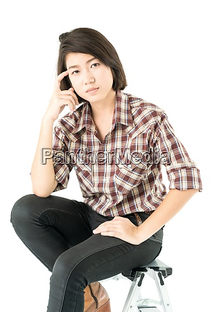 young woman in a plaid shirt