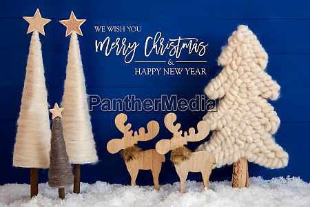christmas tree moose snow text merry