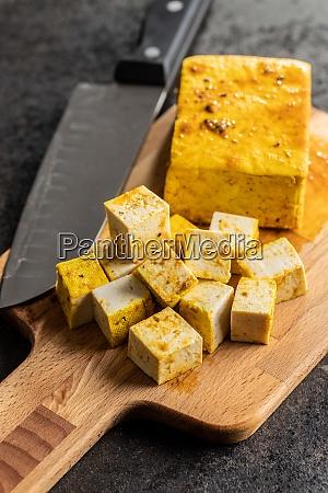 dices of marinated tofu